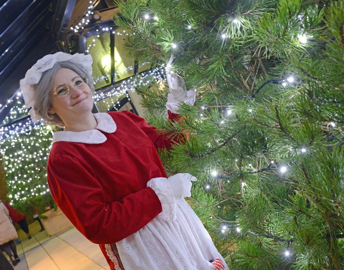 Mrs Claus admires teh Christmas tree in the Craft Village after the Mayor switched on the Christmas lights in the village. Picture Martin McKeown. Inpresspics.com. 11.12.15
