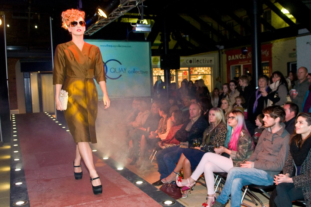 A model takes to the catwalk in the Craft Village as a fashion showcase took place in the Craft Village during Culture Night. Picture Martin McKeown. Inpresspics.com. 21.9.12